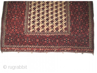 "Horse cover Yemouth Turkmen dated 1314 = 1896 antique. Collector's item with Islamic inscriptions. Size: 106 x 98 (cm) 3' 6"" x 3' 3""  carpet ID: K-5210