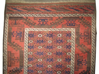 """Belutch Persian circa 1910 antique. Collector's item. Size: 142 x 80 (cm) 4' 8"""" x 2' 7""""   carpet ID: K-3320 The black color is oxidized, vegetable dyes, the knots are hand spun  ..."""