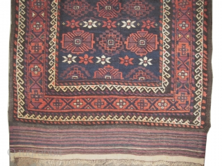 """Belutch Persian circa 1915 antique. Collector's item, Size: 170 x 95 (cm) 5' 7"""" x 3' 1""""   carpet ID: M-530 the black color is oxidized, vegetable dyes, the warp and the weft  ..."""
