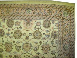 """Ushak Anatolian circa 1935 antique. Size: 340 x 240 (cm) 11' 2"""" x 7' 10""""  carpet ID: P-1887 all over design, the knots are hand spun wool, certain places the pile is  ..."""