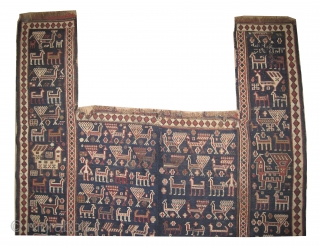 """Horse cover Soumak Caucasian, dated 1320 = 1902, antique, collector's item, 151 x 114 (cm) 4' 11"""" x 3' 9""""  carpet ID: A-186 Woven with hand spun wool, peacock design, in good  ..."""