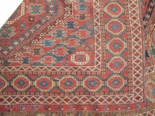 Beshir Turkmen, antique, collectors item, 160 x 323 cm,  carpet ID: P-5103 Geometric design, the background color is indigo with terracotta, 80% the pile is high, up at the left corner the  ...
