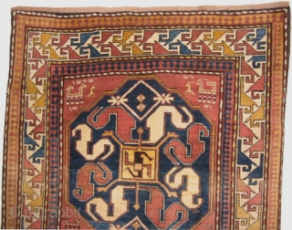 """Chondzoresk Caucasian with Armenian inscriptions, knotted circa in 1895, antique, collector's item.  217 x 136 (cm) 7' 1"""" x 4' 6""""  carpet ID: RS-340 In perfect condition, high pile, the background  ..."""