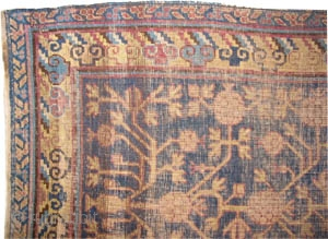 """Khotan Samarkant  antique. Size: 356 x 94 (cm) 11' 8"""" x 3' 1""""  carpet ID: K-4672 The pile is uniformly used, all over pomegranate design, very fine knotted, soft and worn."""
