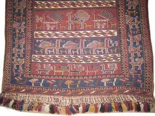 """Horse cover Soumak Caucasian, woven circa in 1905 antique, collector's item, 128 x 98 (cm) 4' 2"""" x 3' 3""""  carpet ID: A-111 In perfect condition, the white colour is cotton the  ..."""