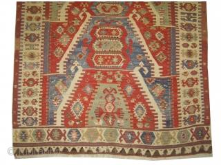 "Prayer Anatolian kelim, antique, collector's item. 190 x 140 (cm) 6' 3"" x 4' 7""  carpet ID: AZ-2701 Family prayer kelim, four prayer design on top each other, the surrounded large border  ..."