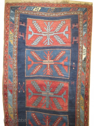 "Fachralo Kazak Caucasian, knotted circa in 1915 antique, collector's item, 220 x 118 (cm) 7' 3"" x 3' 10""  carpet ID: K-3552