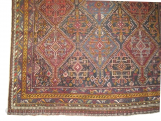 """khamseh Persian knotted circa in 1935, 318 x 213 (cm) 10' 5"""" x 7'  carpet ID: K-2741 In good condition except certain places the pile is uniformly short, allover geometric design, very  ..."""