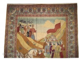 "Pictorial Hajijelili-Tabriz Persian signed as Safaresh Rahim Sadkiami, knotted circa in 1910 antique, collector's item, 196 x 140 (cm) 6' 5"" x 4' 7""  carpet ID: K-3056 A historical subject, high pile  ..."