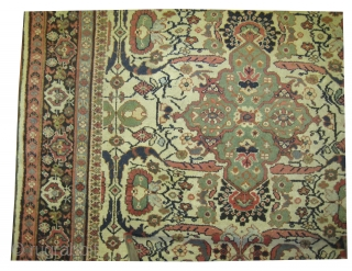 """Ziegler-Mahal Persian knotted circa in 1910 antique, 320 x 212 (cm) 10' 6"""" x 6' 11""""   carpet ID: P-5151 The background color is ivory with rare design, one edge is finished with  ..."""