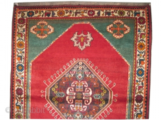 """Gabbeh Nomad Persian knotted circa in 1935,  159 x 121 (cm) 5' 3"""" x 4'  carpet ID: T-678 Thick pile, fine knotted in perfect condition, the background color is warm red,  ..."""