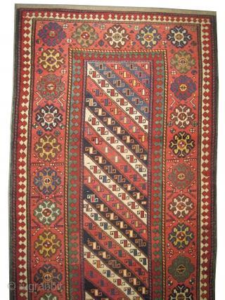 """Gendja Caucasian, knotted circa in 1870 antique, collector's item. 224 x 116 (cm) 7' 4"""" x 3' 10""""  carpet ID: V-178 High pile, in good condition, minor repairs are done, soft and  ..."""
