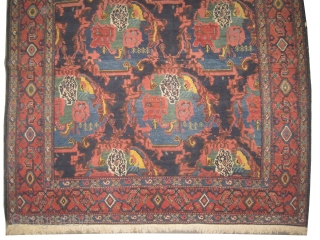 """Senneh Persian knotted circa in 1910 antique, collector's item.  192 x 136 (cm) 6' 4"""" x 4' 6""""  carpet ID: K-80 High pile, in perfect condition, fine knotted, in its original  ..."""
