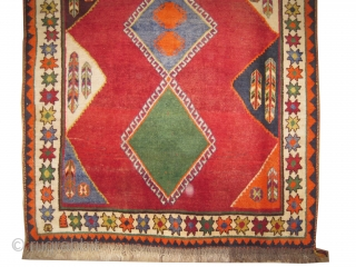 """Gabbeh Nomad Persian knotted circa in 1935 semi antique, collector's item, 178 x 134 (cm) 5' 10"""" x 4' 5""""  carpet ID: M-390 The background color is red, both edges are finished  ..."""