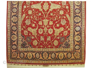 """Hereke silk prayer knotted in 1959, signed as: Euzer Ipeck Hereke. 147 x 91 (cm) 4' 10"""" x 3'  carpet ID: S-75 The knots, the warp and the weft threads are 100%  ..."""
