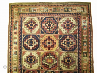 """Moghan Caucasian knotted circa in 1905 antique, collectors item. 218 x 150 (cm) 7' 2"""" x 4' 11""""  carpet ID: V-152 Thick pile in perfect condition, allover geometric design, the surrounded large  ..."""