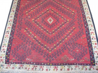 """Sharkoy Turkish kilim circa 1905 antique. Collectors item, Size: 328 x 282 (cm) 10' 9"""" x 9' 3""""  carpet ID: A-436 Minor problems, good condition, soft, very fine woven and in  ..."""
