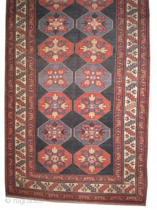 "Lambalo Kazak Caucasian circa 1910 antique. Collector's item, Size: 260 x 126 (cm) 8' 6"" x 4' 2""  carpet ID: K-5083 The background color is indigo, geometric design, the pile is slightly  ..."