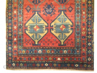 """Lambalo-Kazak Caucasian knotted circa in 1910 antique, collector's item. 225 x 138 (cm) 7' 5"""" x 4' 6""""  carpet ID: H-277 The knots, the warp and the weft threads are hand spun  ..."""