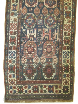 "Moghan Caucasian knotted circa in 1900 antique, collector's item, 295 x 126 (cm) 9' 8"" x 4' 2""  carpet ID: K-3339