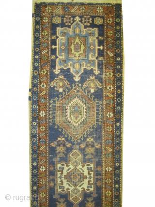 "Karadja Persian circa 1920 semi antique. Size: 247 x 69 (cm) 8' 1"" x 2' 3""  carpet ID: K-4188 Good condition, the background color is indigo, five medallions, in its original shape.  ..."