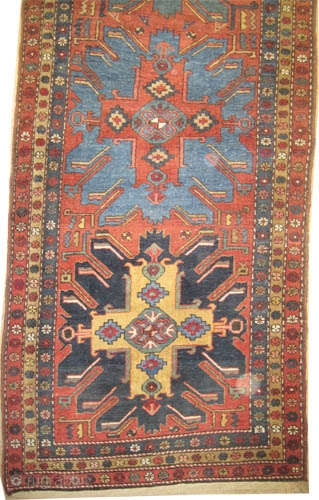 """Heriz Persian circa 1920, Size: 430 x 109 (cm) 14' 1"""" x 3' 7""""  carpet ID: K-4437 The background color is rust with five center medallions tchelaberd design, each medallion in different  ..."""