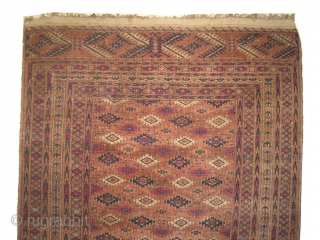 """Yemouth Turkmen circa 1900 antique Size: 168 x 105 (cm) 5' 6"""" x 3' 5""""  carpet ID: JR-2 The background color is rust-brick with abrashes, the two edges are finished with 4cm  ..."""