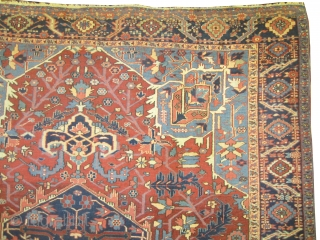 """Serapi-Heriz Persian knotted circa in 1890 antique, 352 x 265 (cm) 11' 6"""" x 8' 8""""  carpet ID: P-5415 The black color is oxidized, high pile, in good condition, finely knotted, soft  ..."""