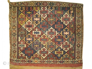 "Shahsevan Saddle bag reverse technique of soumak, circa 1905 antique. Collector's item, Size: 116 x 63 (cm) 3' 10"" x 2' 1""  carpet ID: SA-1034