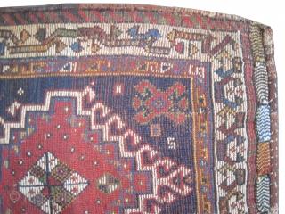 "Qashqai saddle-bag Persian circa 1905 antique. Collector's item. Size: 109 x 58 (cm) 3' 7"" x 1' 11""  carpet ID: SA-473 The knots are hand spun lamb wool, the warp and the  ..."