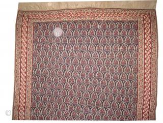 "Senneh kelim Persian circa 1840 antique. Size: 206 x 144 (cm) 6' 9"" x 4' 9""  carpet ID: A-193 In perfect condition, indigo background, rare example, all over Mirabotha design, fine woven,  ..."