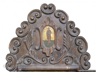 Triptych Russian icon, circa 1770, antique, collector's item, museum standard in good condition.