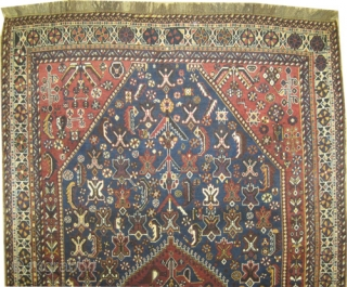 """Qashqai Persian knotted circa in 1905 antique, collector's item, 255 x 158 (cm) 8' 4"""" x 5' 2""""  carpet ID: P-1910 The black color is oxidized, the knots are hand spun lamb  ..."""