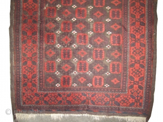 """Belutch Persian knotted circa in 1920 antique,  200 x 110 (cm) 6' 7"""" x 3' 7""""  carpet ID: K-4968 The black color is oxidized. The knots, the warp and the weft  ..."""