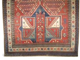 """Fachralo-Kazak Caucasian, knotted circa in 1885 antique, collectors item, 243 x 156 (cm) 8'  x 5' 1""""  carpet ID: V-53 High pile, in perfect condition, the black color is oxidized,  ..."""