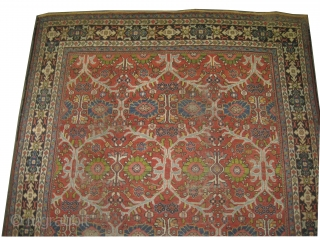 """Mahal Persian knotted circa in 1905  antique 390 x 254 (cm) 12' 9"""" x 8' 4""""  carpet ID: P-3941 The knots are hand spun wool, the black knots are oxidized, the  ..."""