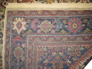 """Mahal Persian, knotted circa in 1912 antique, 336 x 247 (cm) 11'  x 8' 1""""  carpet ID: P-5034 The knots are hand spun wool, the black knots are oxidized, the edges  ..."""