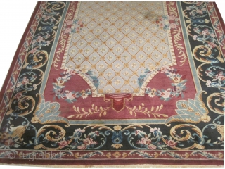 """Savonnerie old, Art Deco period, 394 x 295 (cm) 12' 11"""" x 9' 8""""  carpet ID: HGW-1 The knots are hand spun wool, thick pile, in perfect condition, very fine knotted, both  ..."""