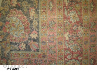 "Kirman Lavar Persian, circa 1920,  Size: 395 x 273 (cm) 12' 11"" x 8' 11""  carpet ID: GUR-1  vegetable dyes, the black color is oxidized, the knots are hand spun  ..."