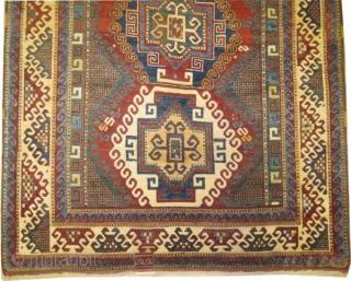 "Bordjalou-Kazak Caucasian, circa 1890, antique. Collector's item, Size: 230 x 170 (cm) 7' 6"" x 5' 7"" carpet ID: H-353  acceptable condition, nice example, vegetable dyes, the black color is oxidized,  ..."