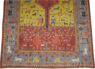 """Pictorial Samarkand carpet knotted circa 1925. Collector's item,  Size: 312 x 235 (cm) 10' 3"""" x 7' 8"""" carpet ID: P-2528  vegetable dyes, the warp and the weft threads are cotton,  ..."""