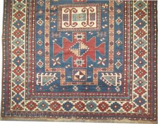 """Karatchoph Caucasian circa 1885, antique. Size: 224 x 141 (cm) 7' 4"""" x 4' 7"""" carpet ID: V-102   Vegetable dyes, the black color is oxidized, the knots are hand spun lamb  ..."""