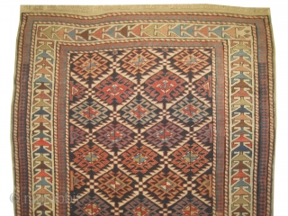 Shirvan prayer Caucasian, knotted circa in 1918, antique, collectors item, 100 x 200 cm, carpet ID: BRDU-2 The knots are hand spun wool, both edges are finished with 3 cm kilim, high pile  ...
