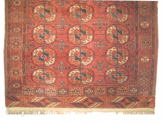 Tekke Boukhara Turkmen, knotted circa in 1885 antique, collectors item, 130 x 100 cm,  carpet ID: LUB-4 The black color is oxidized, high pile in good condition, both edges are finished with  ...
