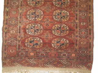 Tekke Boukhara, knotted circa in 1905, antique 88 x 112 cm, carpet ID: LUB-5 The knots, the warp and the weft threads are hand spun wool. Warm rust background, both edges are finished  ...