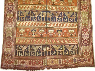 "Soumak horse cover Caucasian, circa 1910, antique. Collector's item, Size: 157 x 118 (cm) 5' 2"" x 3' 10""  carpet ID: A-123 