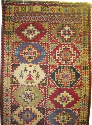 """Balikesir Anatolian circa 1880, antique. Collector's item, Size: 250 x 127 (cm) 8' 2"""" x 4' 2""""  carpet ID: K-2475  village rug, vegetable dyes, the black colour is oxidized, the warp  ..."""