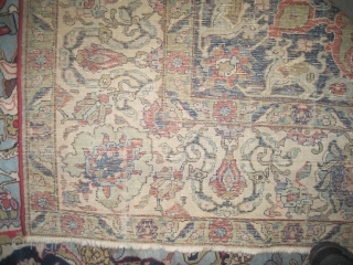 """Tabriz Persian, semi antique, 350 x 267 (cm) 11' 6"""" x 8' 9""""  carpet ID: P-5137 The knots are hand spun lamb wool, the background color is sky blue decorated with flowers  ..."""