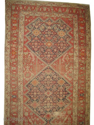 """Malaier Persian, knotted circa in 1895 antique, collector's item, 296 x 151 (cm) 9' 8"""" x 4' 11""""  carpet ID: RSZ-8 The knots are hand spun wool, the black color is oxidized,  ..."""
