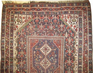 """Shiraz Khamse Persian, circa 1905, antique. High standard collector's item. Size: 197 x 173 (cm) 6' 6"""" x 5' 8""""  carpet ID: K-3228  Vegetable dyes, the warp and the weft  ..."""